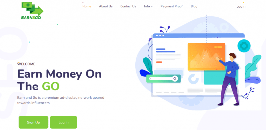 Earn and Go homepage.